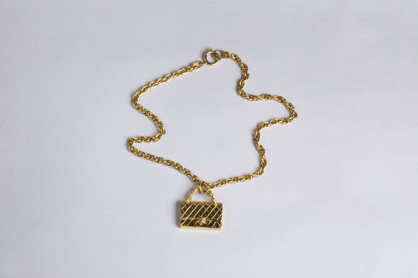 Vintage Chanel Matrasse Bag Charm Necklace