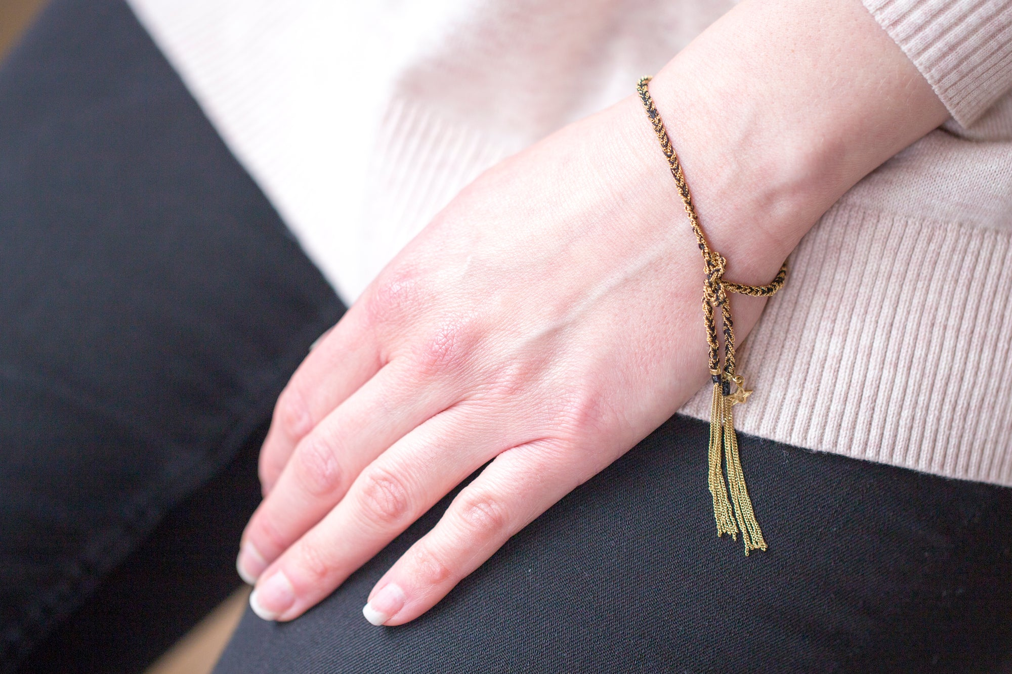 Love Lucky 18ct Gold and Silk Bracelet