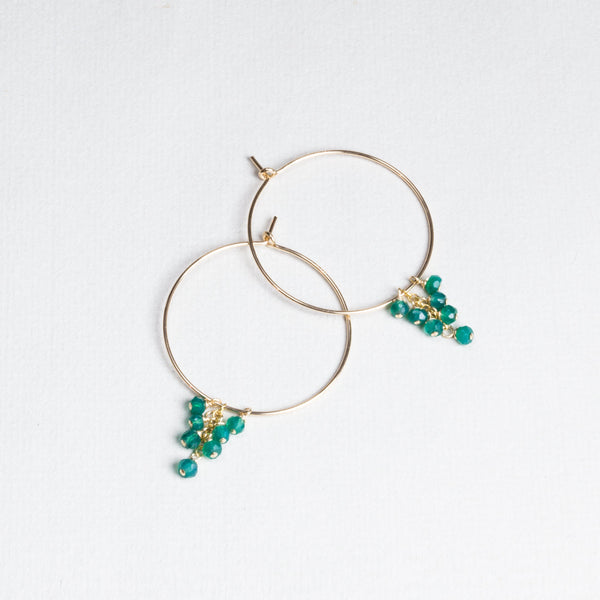 Gold Filled Hoops with Green Onyx