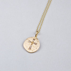 18ct Gold Diamond Cross Pendant Necklace