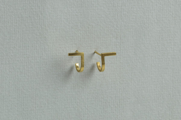Unfinishing Line Gold Earrings Small