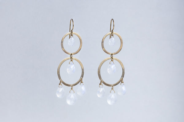 Gold Circle Drop Earrings with Moonstones