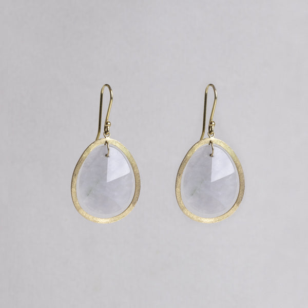 18ct Gold Drop Earrings with Grey Quartz