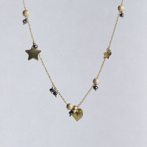 22ct Gold Planet Necklace with Black Diamond Beads
