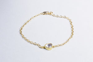 Gold Chain Bracelet with Sliced Diamond #1