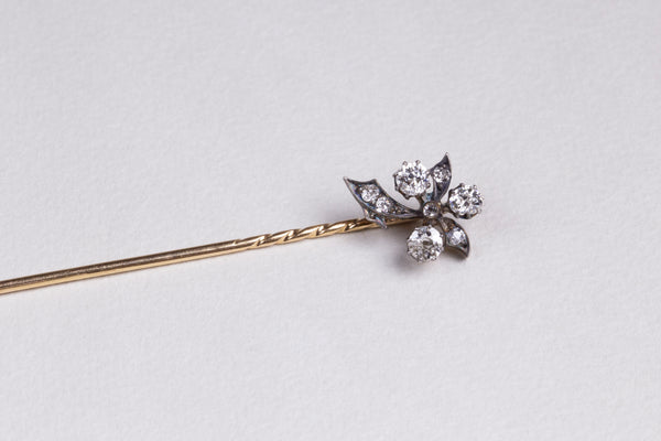 Victorian Flower Stickpin with Diamonds