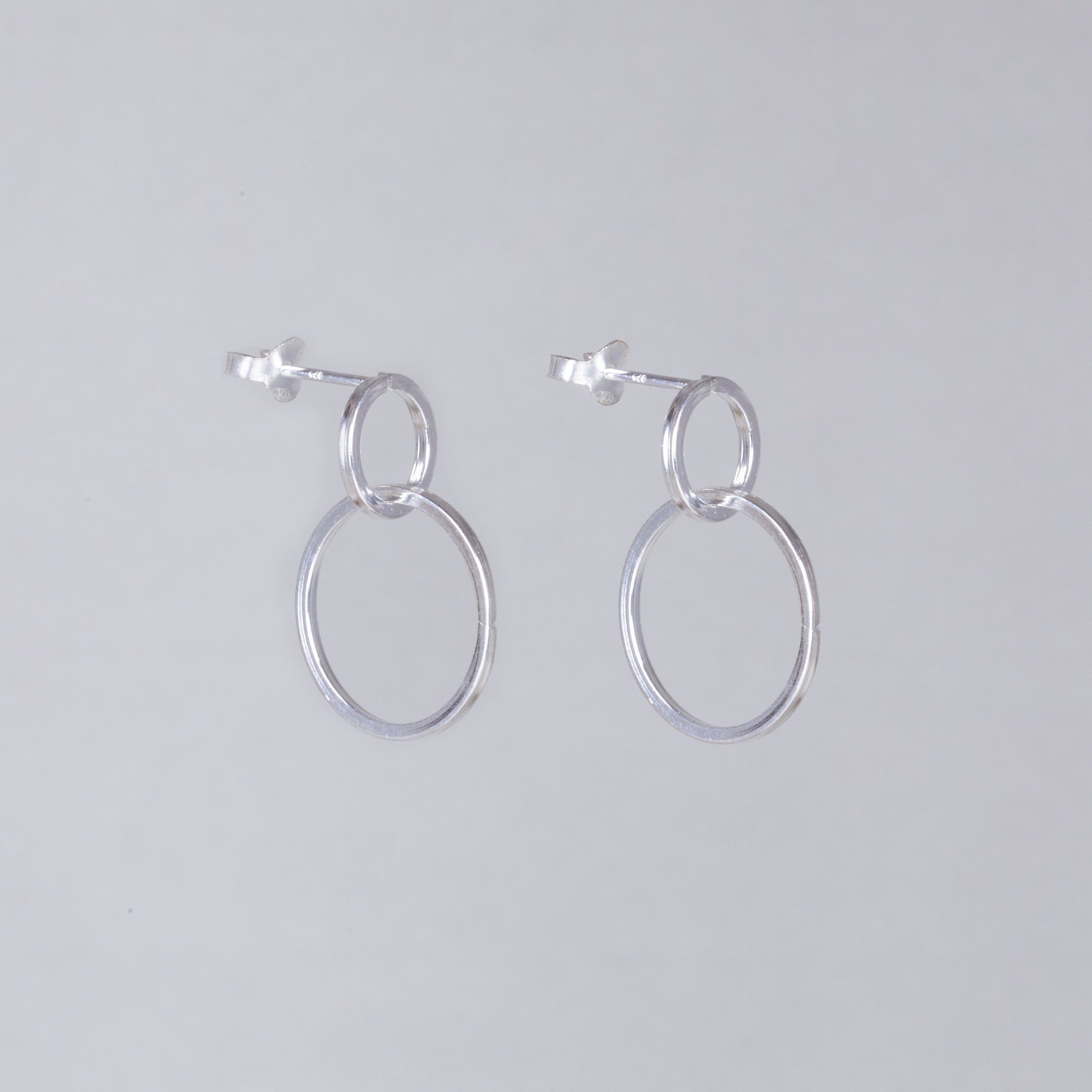 Double Circle Drop Stud Earrings