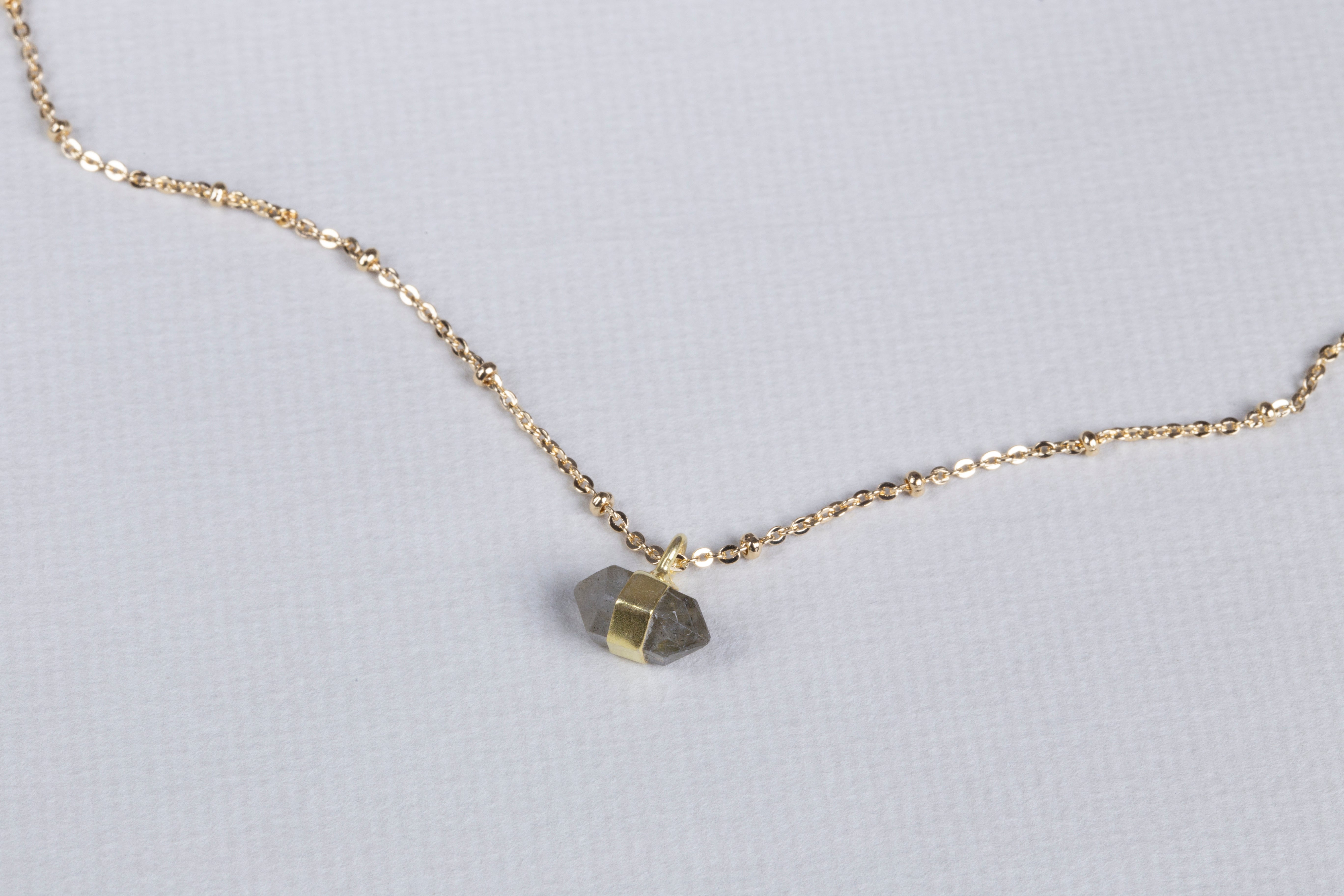 Gold Chain Necklace with Labradorite