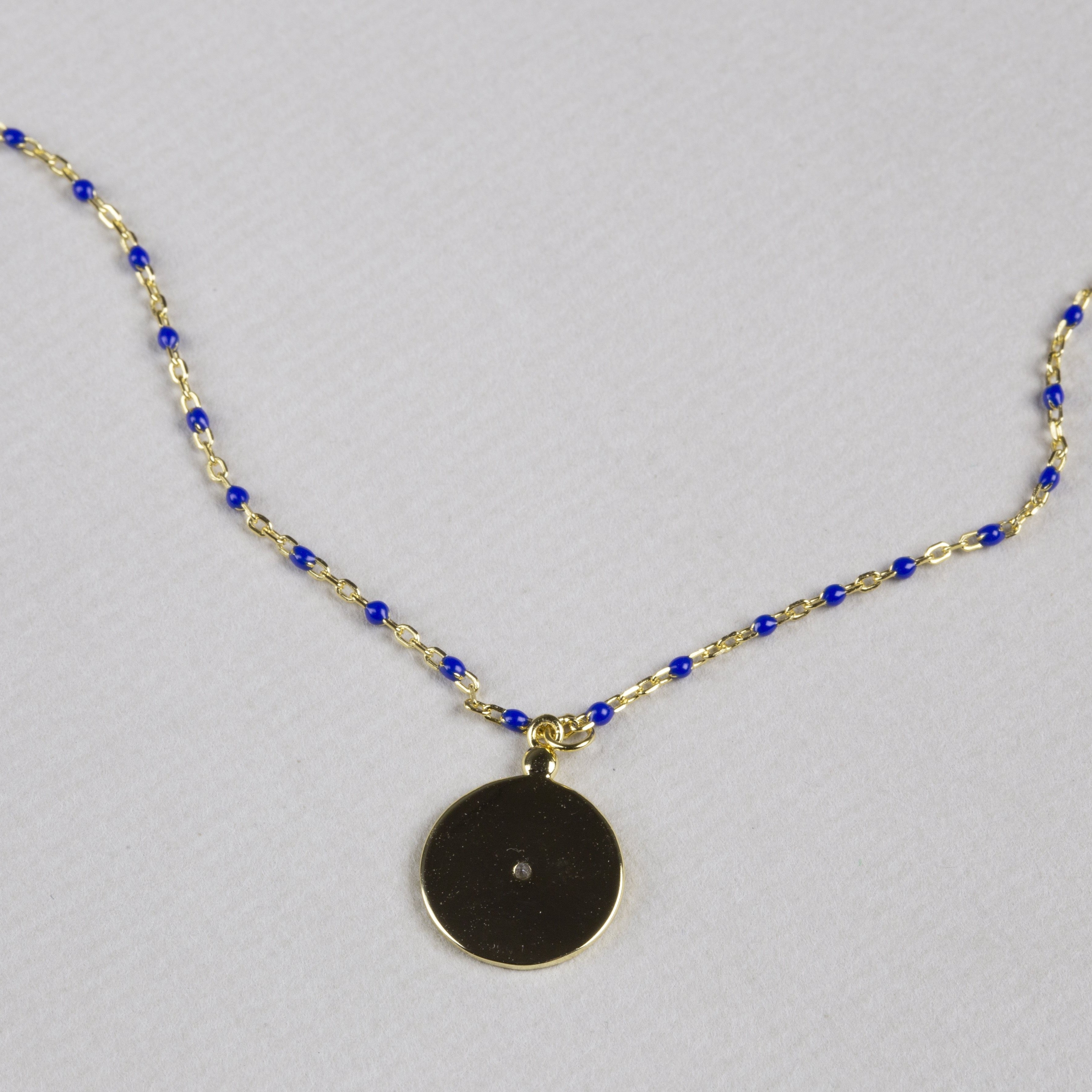 Coin Pendant Necklace with Gold Chain and Blue Beads