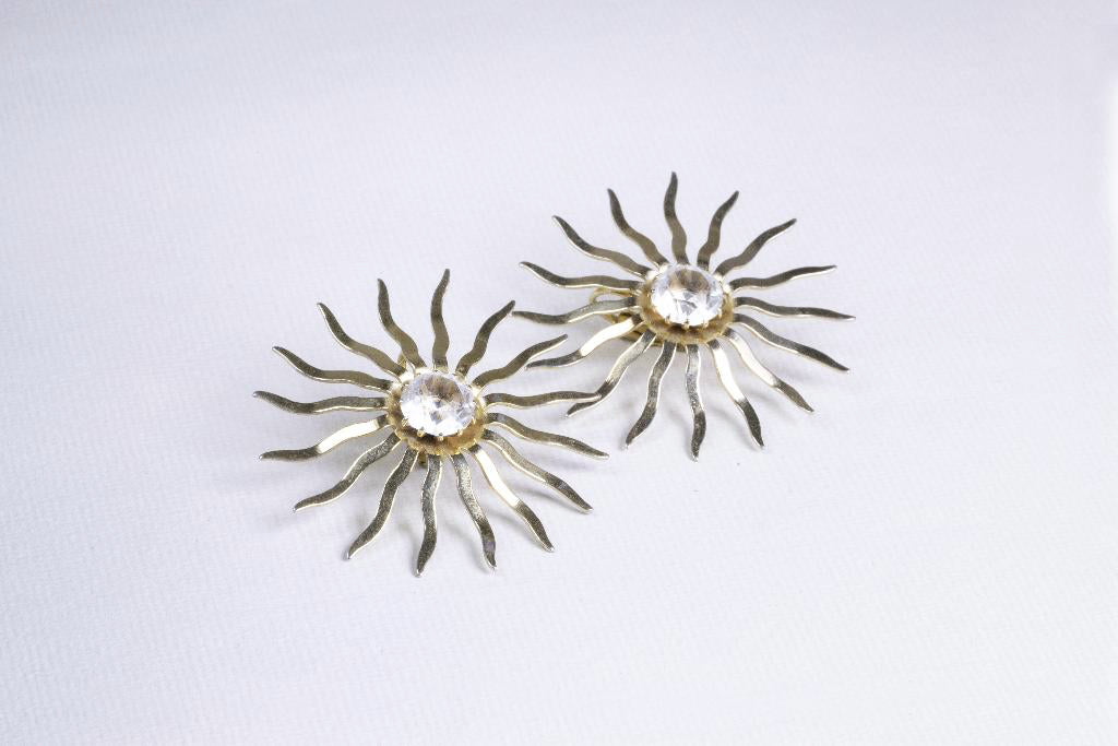 Gold Sun Clip-on Earrings