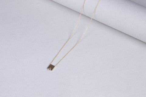 Gold Pendant Necklace with Brown Diamond