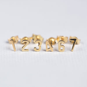 14ct Gold Small Number Stud