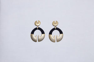 Matt Gold Earrings with Black Woven Threads
