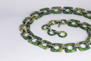 Vintage Green Belt Necklace