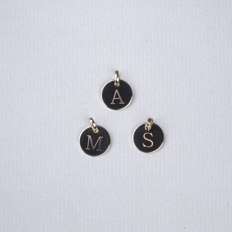 Gold Disc Charm with Initials