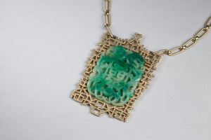 Jade and Gold Costume Pendant Necklace