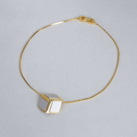 Vintage Gold Cube Necklace