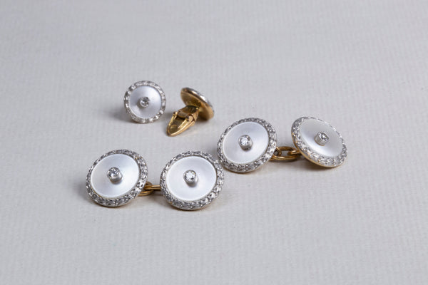 Vintage 18ct White Gold Cufflinks with Diamonds