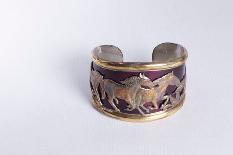 Gold and Enamel Horse Cuff Bracelet