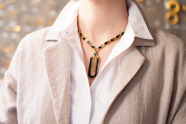 Vintage Gold and Black Enamel Necklace