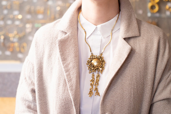 Vintage Gold and Pearl Pendant Necklace