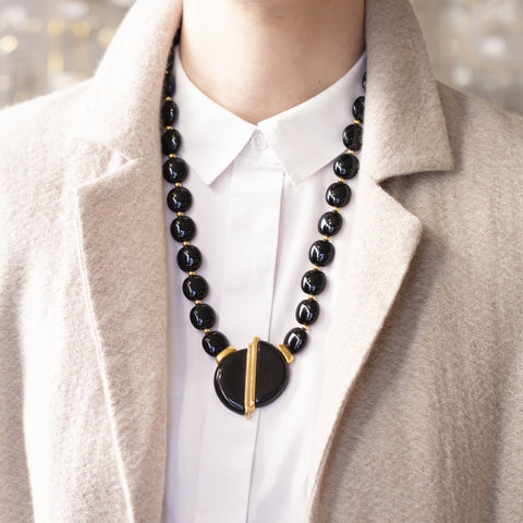Vintage Black Enamel Pendant Necklace