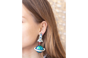 Earth and Rocket Clip-on Earrings
