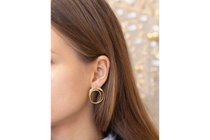 Gold Double Circle Stud Earrings