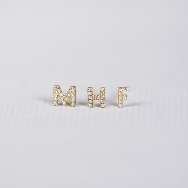 Gold Diamond Letter Stud Earrings