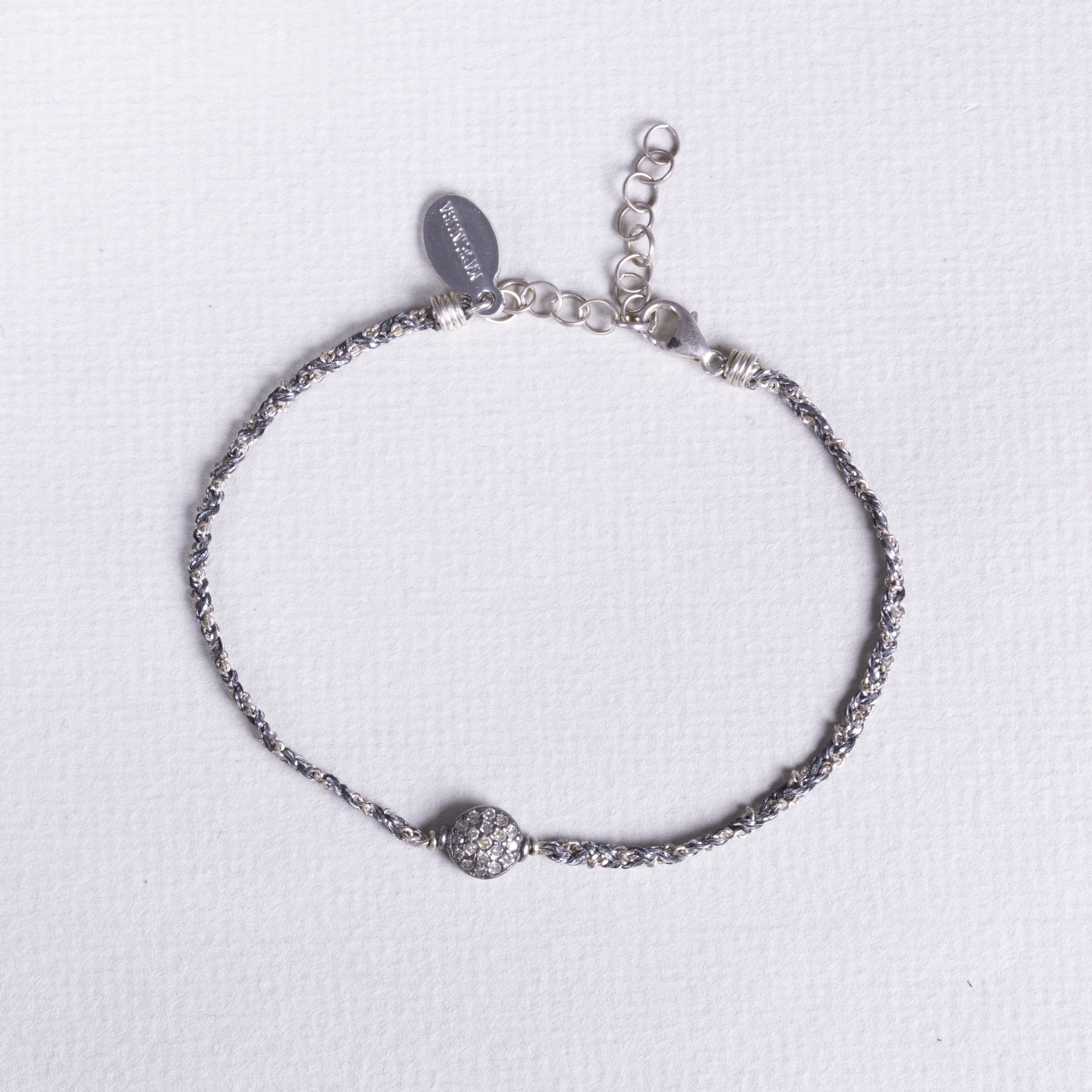 Thread Diamond Disc Bracelet in Silver