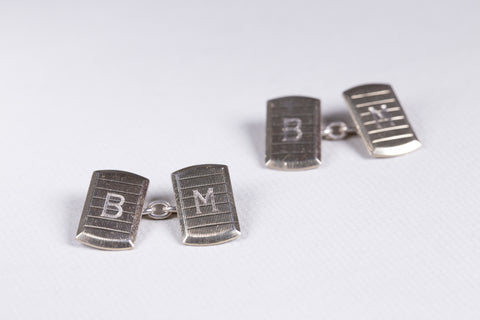 Sterling Silver Cufflink with Initials