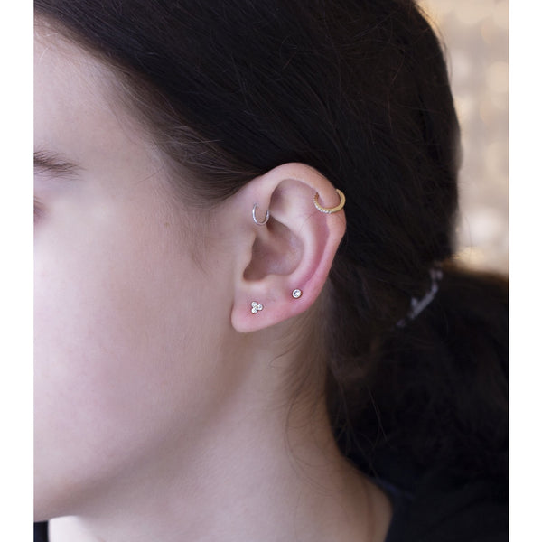 Simple Gold and Crystal Stud Earrings