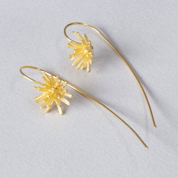 Gold Flower Long Drop Earring