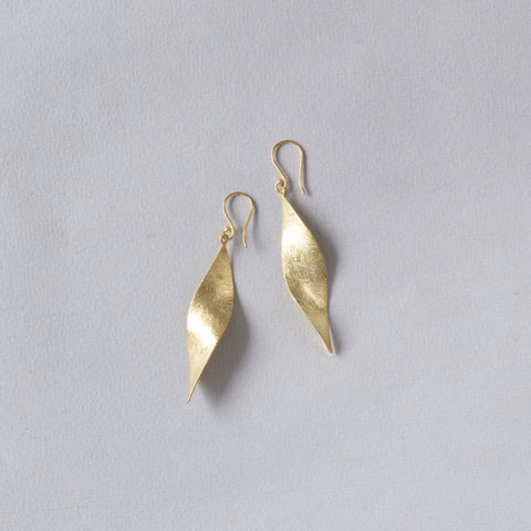 Brushed Gold Vermeil Leaf Drop Earrings