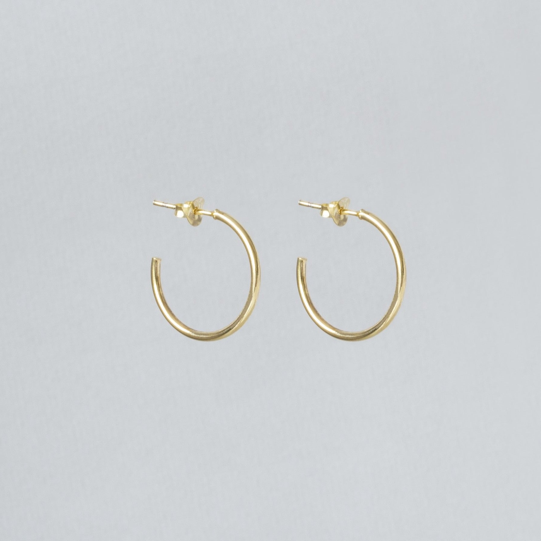 Gold Open Stud Hoop Earrings