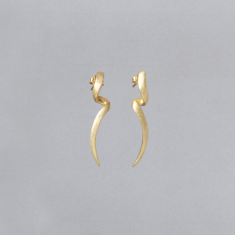 Brushed Gold Vermeil Twist Stud Earrings