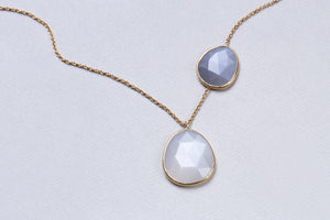 18ct Gold Necklace with Moonstone and Labradorite