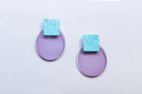 Resin Oval and Square Earrings