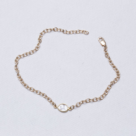 Gold Chain Bracelet with Sliced Diamond #2