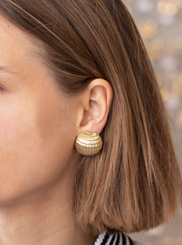 Gold Dome Clip-on Earrings