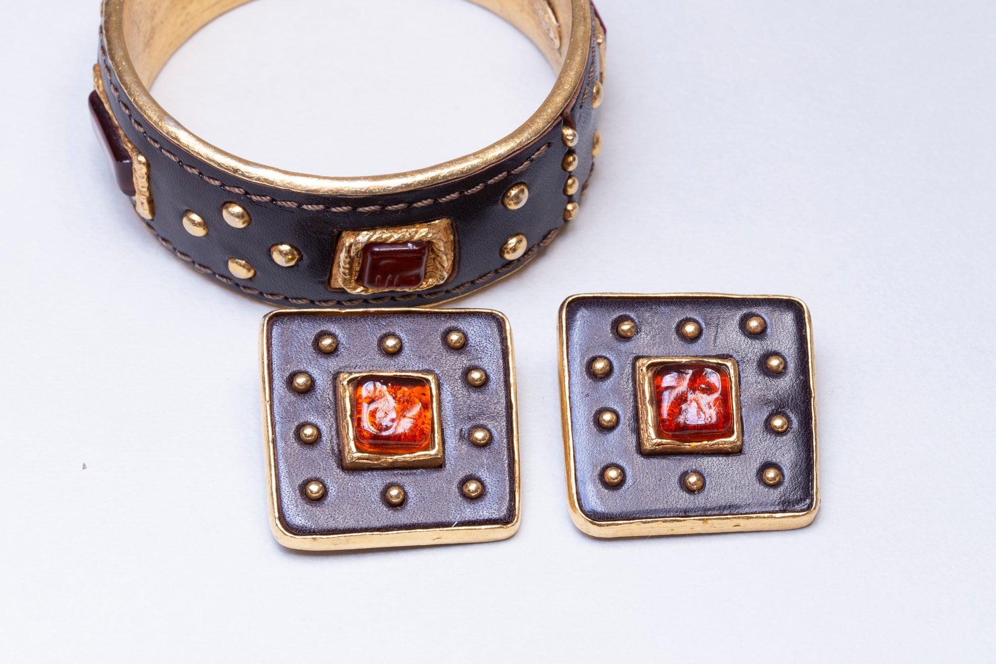 Set of Vintage Leather and Gold Cuff Bracelet and Earrings