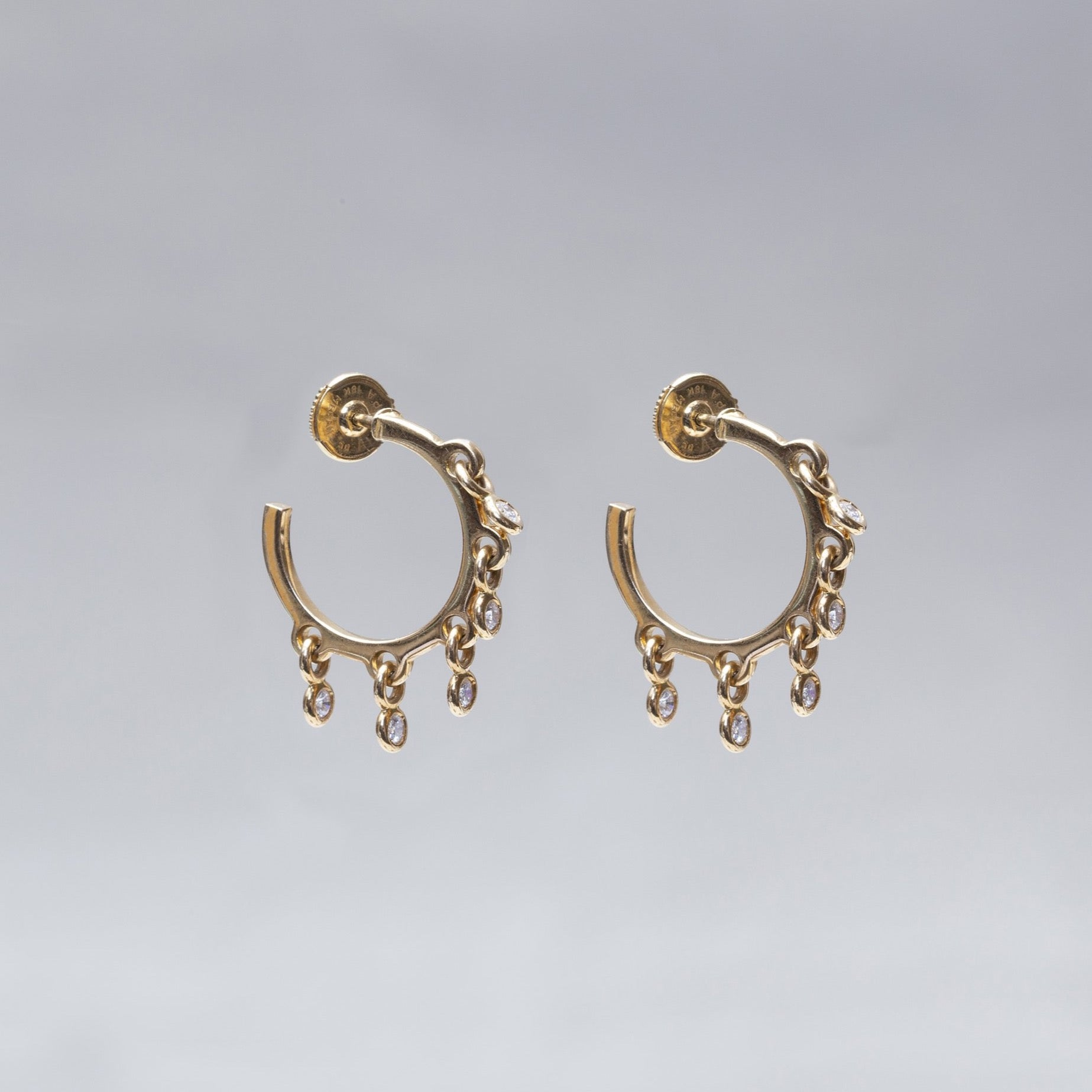 18ct Gold Multi Disc Diamond Hoop Earrings