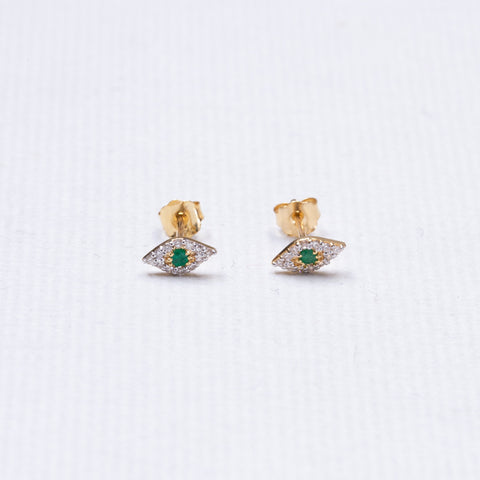 Tiny Eye Gold Diamond Stud Earrings