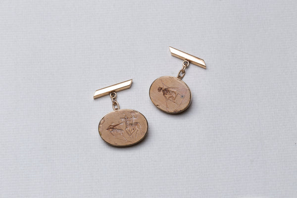 Vintage 9ct Gold Cufflinks with Engraving