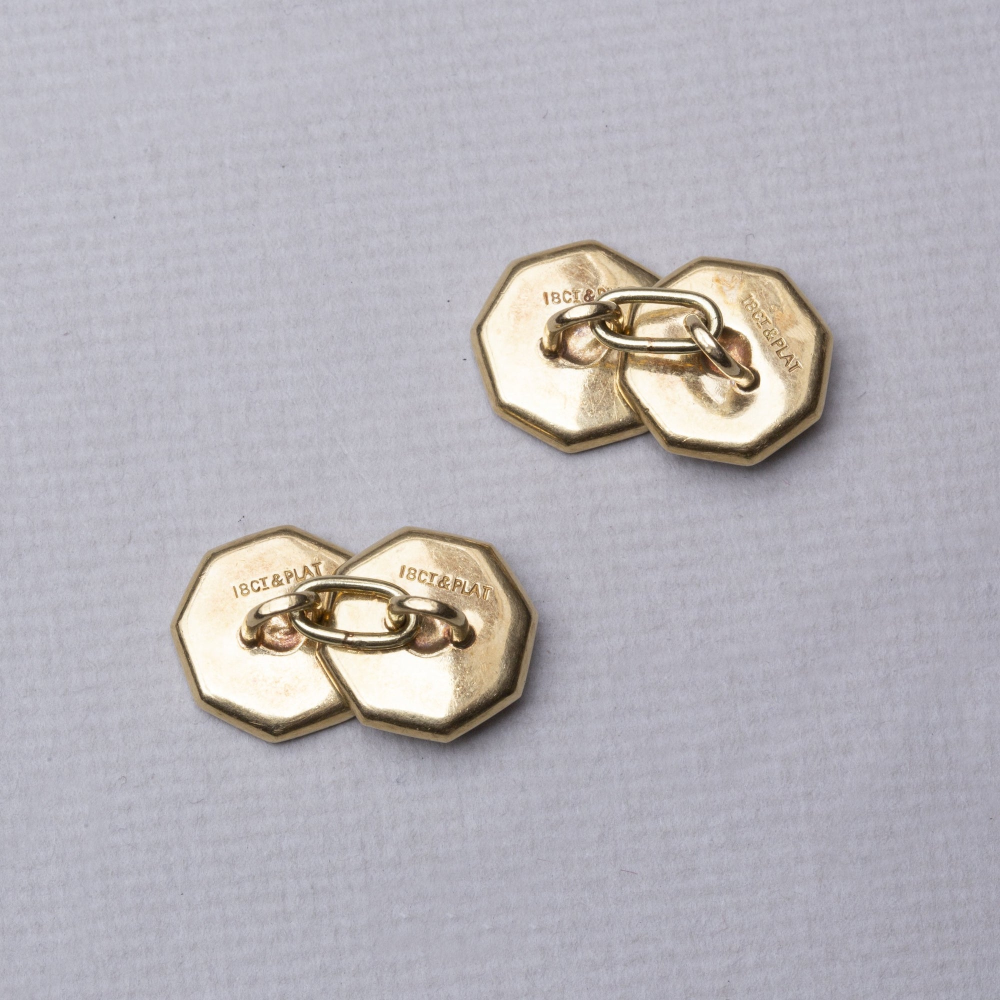 Vintage Platinum and 18ct Gold Cufflinks with Mother of Pearl