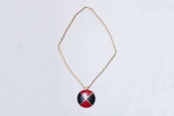 Vintage Black and Red Leather Pendant with Brass Chain