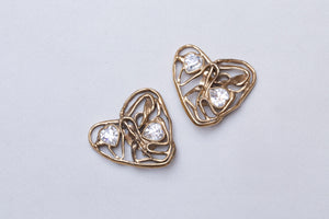 Vintage Heart Clip-on Earrings with Rhinestones