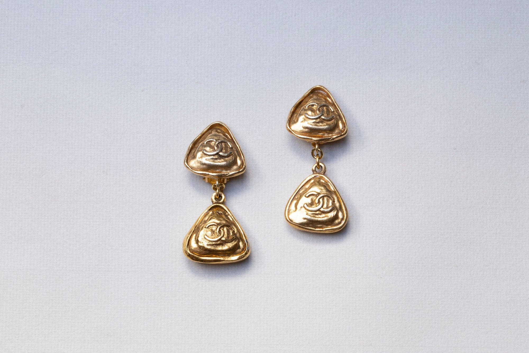 Vintage Gold Double CC Clip-on Earrings