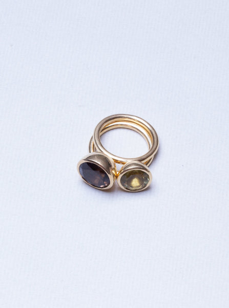 Stackable Gold Ring with Smoky Quartz and Green Amethyst