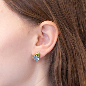 Gold Stud Earrings with Aqua and Peridot
